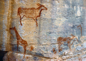 Botswana, peintures rupestres Bushman dans les reliefs de Tsodilo Hills