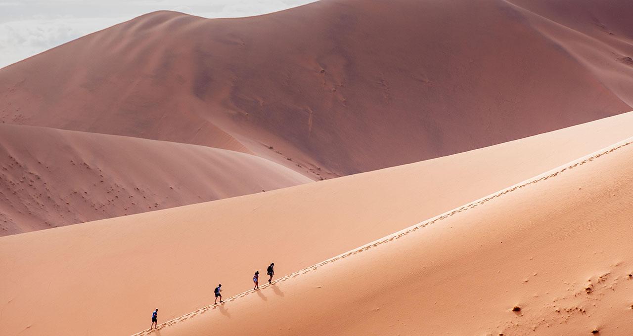 Randonneurs montant une dune de sable à Sossusvlei, Namib-Naukluft National Park, Namibie.